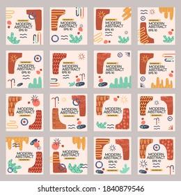Collection of Vector Desert Ethnic Minimalism Instagram Templates Vector Modern Art Graphic Design for Gift Cards Flyers Brochures etc.