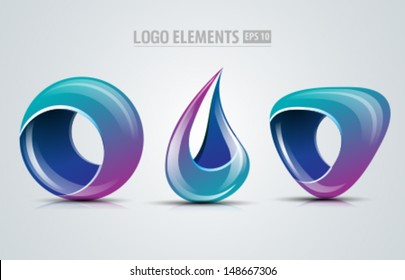 Collection of vector design logo elements for business and icons design