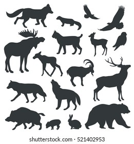 image relating to Free Printable Forest Animal Silhouettes identified as Forest Animal Silhouette Photographs, Inventory Photographs Vectors