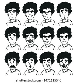 Collection of vector faces in different emotions. curly head, eyebrow, outline, doodle.