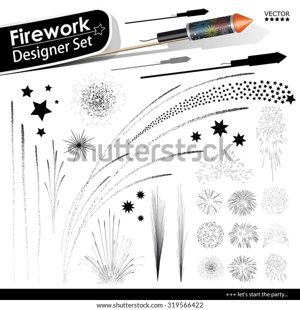 Collection of Vector Firework Rocket Explosion Effects - Set of Blasting Pyrotechnics. Black Shapes and Silhouettes. New Years Eve Design Template.