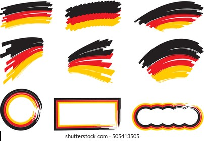 collection of vector flags and frames in german colors