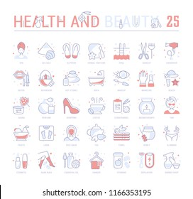 Collection of vector flat icons with thin line elements of health and beauty. Set of clean design, and outline signs. Simple linear infographics and pictograms pack for web graphics and apps.