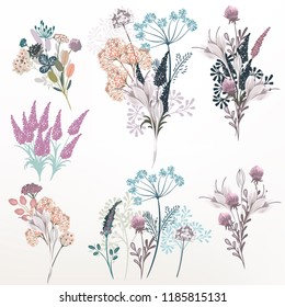 Collection of vector flower composition for design
