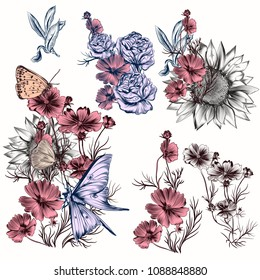 Collection of vector flowers for design