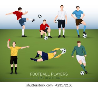 collection of vector football player silhouettes running, standing, holding ball, goalkeeper and judge