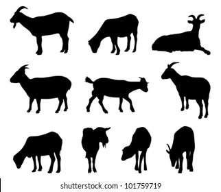 collection of vector goat silhouettes on white background