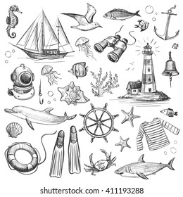 Collection of vector graphics sea voyage . Isolated objects on a white background .