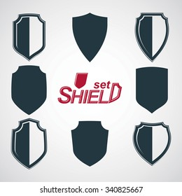 Collection of vector grayscale defense shields, protection design graphic elements. High quality heraldic illustrations on security theme,?? set of retro coat of arms.
