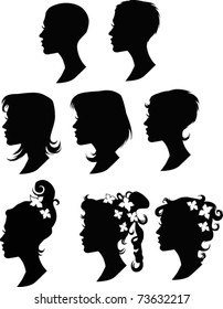collection of vector hairstyles
