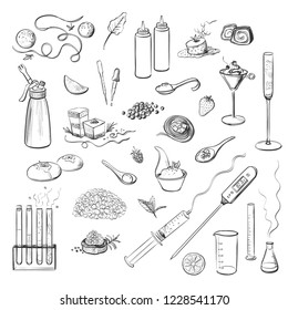 Collection of vector hand drawings of molecular kitchen, isolated sketches on white background