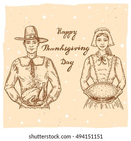 Collection of vector hand drawn illustrations of the pilgrim with roasted turkey, pilgrim wife with pumpkin pie.Thanksgiving Day set in vintage style with smiling man holding turkey and girl with pie.