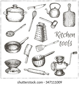 Collection of  vector hand drawn kitchen tools.