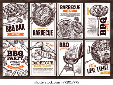 Collection of vector hand drawn posters with grilled food, sausages, chicken, french fries, steaks, fish, BBQ bar and party welcome. Set of monochrome sketch cards with typographic