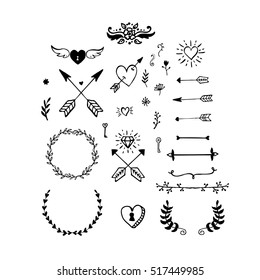 Collection of vector handdrawn Valentine's day design elements. Sketch doodle hearts, wreaths, borders, arrows.