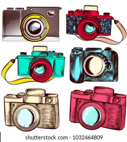 Collection of vector hipster cameras