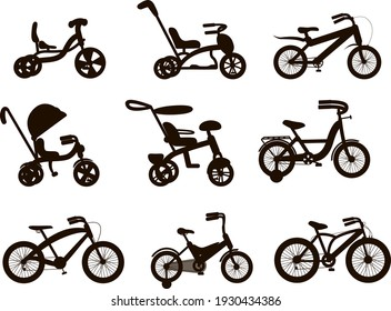 Collection of vector icons in black style.