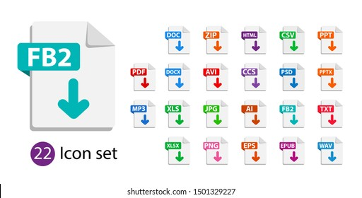 Collection of vector icons. File format extensions icons. PDF, DOC, JPG, PSD, MP3, TXT, DOC, DOCx, ZIP, PPT, XLS.