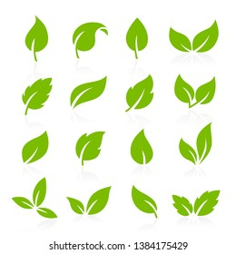 Collection of vector icons of green leaves
