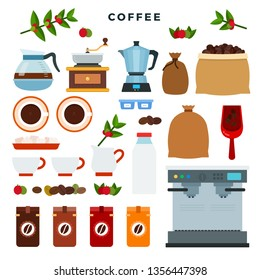 Collection of vector icons on coffee theme. All stages on the way from growing coffee berries to making a drink. Berries, grains, ground coffee, hot drink. Vector illustration.