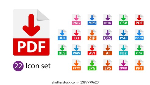 Collection of vector icons. Sign Download. File format extensions icons. PDF, MP3, TXT, DOC, DOCx, ZIP, PPTx, XLSx, JPG, PSD, fb2, AVI.