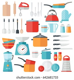 Collection of vector icons symbolizing kitchen equipment, food, cooking. Modern flat design style. Both for print and web design.