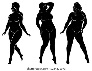 Collection. Vector illustration of a silhouette of a woman with overweight. Black and white, different poses. A lady is standing in front and behind.