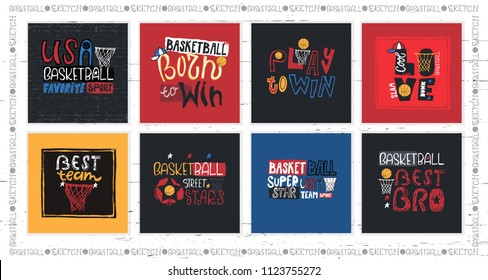 A collection of vector illustrations for American basketball. Motivation quotes, slogan, grunge. Sport fashion print for t-shirt, text: born to win, play to win, dude. Handwritten Modern lettering.