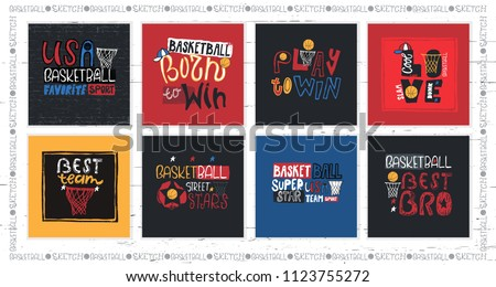 Collection Vector Illustrations American Basketball Motivation Stock