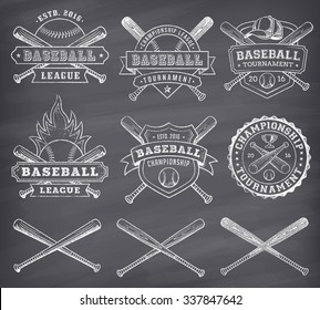 Collection of vector illustrations of Baseball team and competition logos and insignias, in grunge style over a blackboard background.