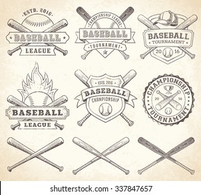 Collection of vector illustrations of Baseball team and competition logos and insignias, in grunge Vintage style.