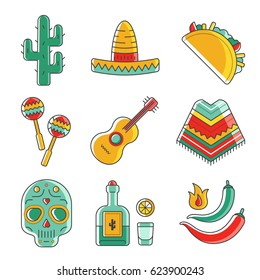 Collection of vector illustrations isolated on white background. Mexican symbol icons in modern flat design style. Tacos, poncho, tequila, guitar  and skull images.