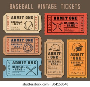 Collection of vector illustrations of raffle tickets of events and games of Baseball