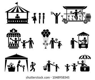 Collection of vector illustrations of various kiosk. For use in public places.  Fairs, street sellers and stands presented as pictograms. Fast food stands.