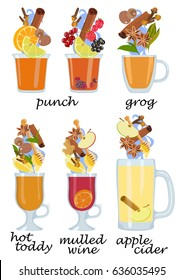 Collection of vector images of heated cocktails and their composition from alcoholic beverages and ingredients: spices and fruits with berries. Warming cocktails. Ingredients in the cocktail.