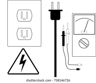 Collection of vector images. Three prong electrical outlet, high voltage warning sign, cord plug in, voltmeter with probes or leads.
