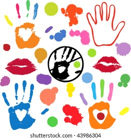Collection of vector imprints and splashes - white areas of lips and hearts in hands are transparent -over any background