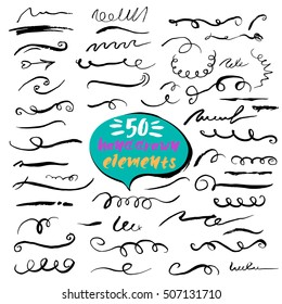 Collection vector ink borders and dividers. Handcrafted brush stroke, curl,swirls. Unique design elements set