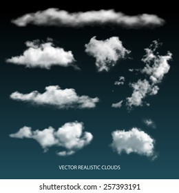 Collection of vector isolated realistic transparent clouds.