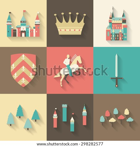 collection of vector kingdom patterns set of long shadow flat style vector fairy tale fantasy
