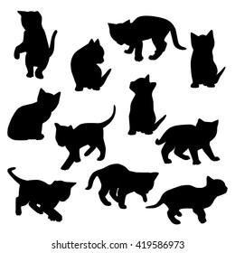 Collection of vector kitten silhouettes.