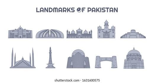 Collection of Vector Landmarks of Pakistan in Line Art Style, Icons, Illustrations Set, Lahore, Multan, Karachi, Islamabad, Quetta, Peshawar, Bahawalpur