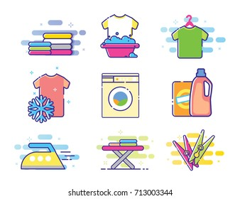Collection of vector laundry icons, clothes washing and ironing icons. Linear art style. MBE Style Illustration.Isolated Vector Illustration on white background.