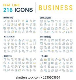 Kollektion von Vektorgrafik-Symbolen für Unternehmen. Finanzen, Management, Buchhaltung, Marketing, Bank, Büro. Set von flachen Zeichen und Symbolen für Web und Apps.