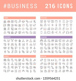 Collection of vector line icons of business. Finance, management, accounting, marketing, bank, office. Set of flat signs and symbols for web and apps.