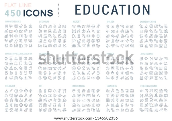 Collection of vector line icons of education. Natural and mathematical science, additional education, tutorship, freelance. Set of flat signs and symbols for web and apps.