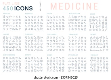 Collection of vector line icons of medicine. Surgery, dentistry, invitro, aids, cancer, check up, orthodontics, biology, vet, clinic, education. Set of flat signs and symbols for web and apps.