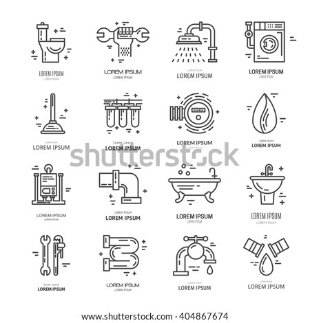 Collection Vector Line Icons Plumbing Symbols Stock Vector Royalty