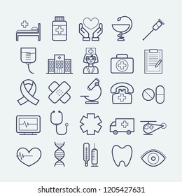 Collection of vector line medicine icons for web, print, mobile apps design
