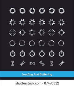 Collection of vector modern preloaders and buffering elements